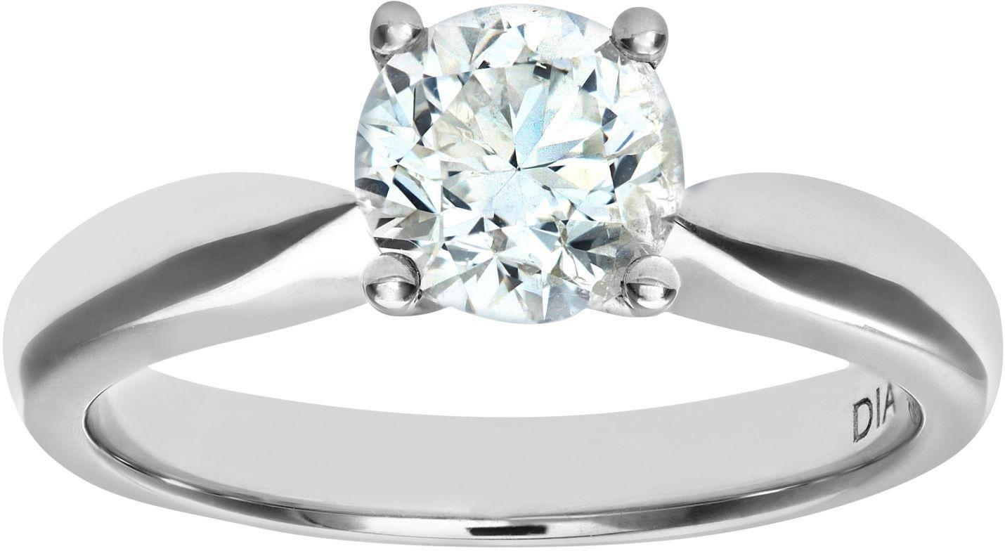 18 Carat White Gold 1 Carat Diamond - Solitaire Ring - Size K