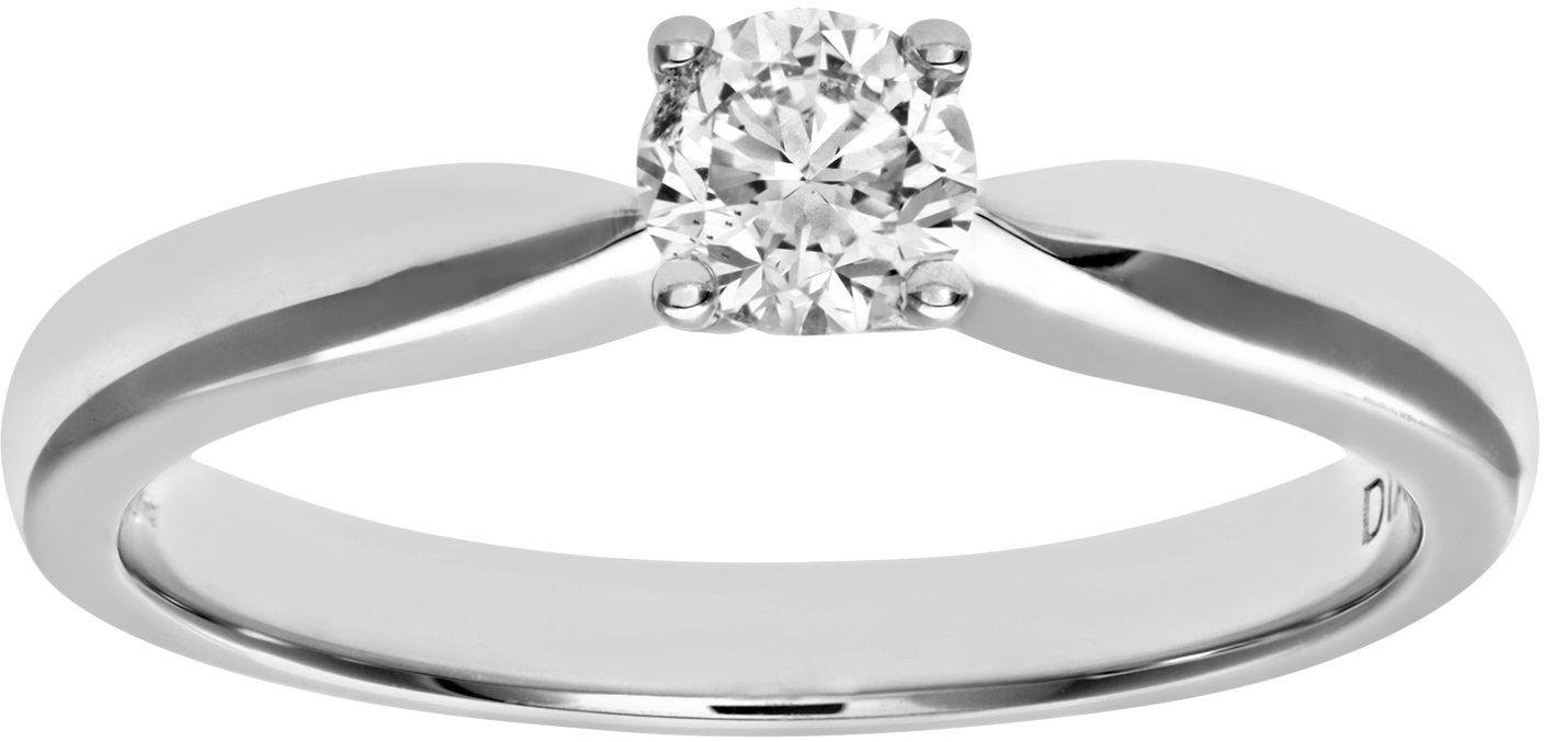 18 Carat White Gold 033 Carat Diamond - Solitaire Ring - Size K