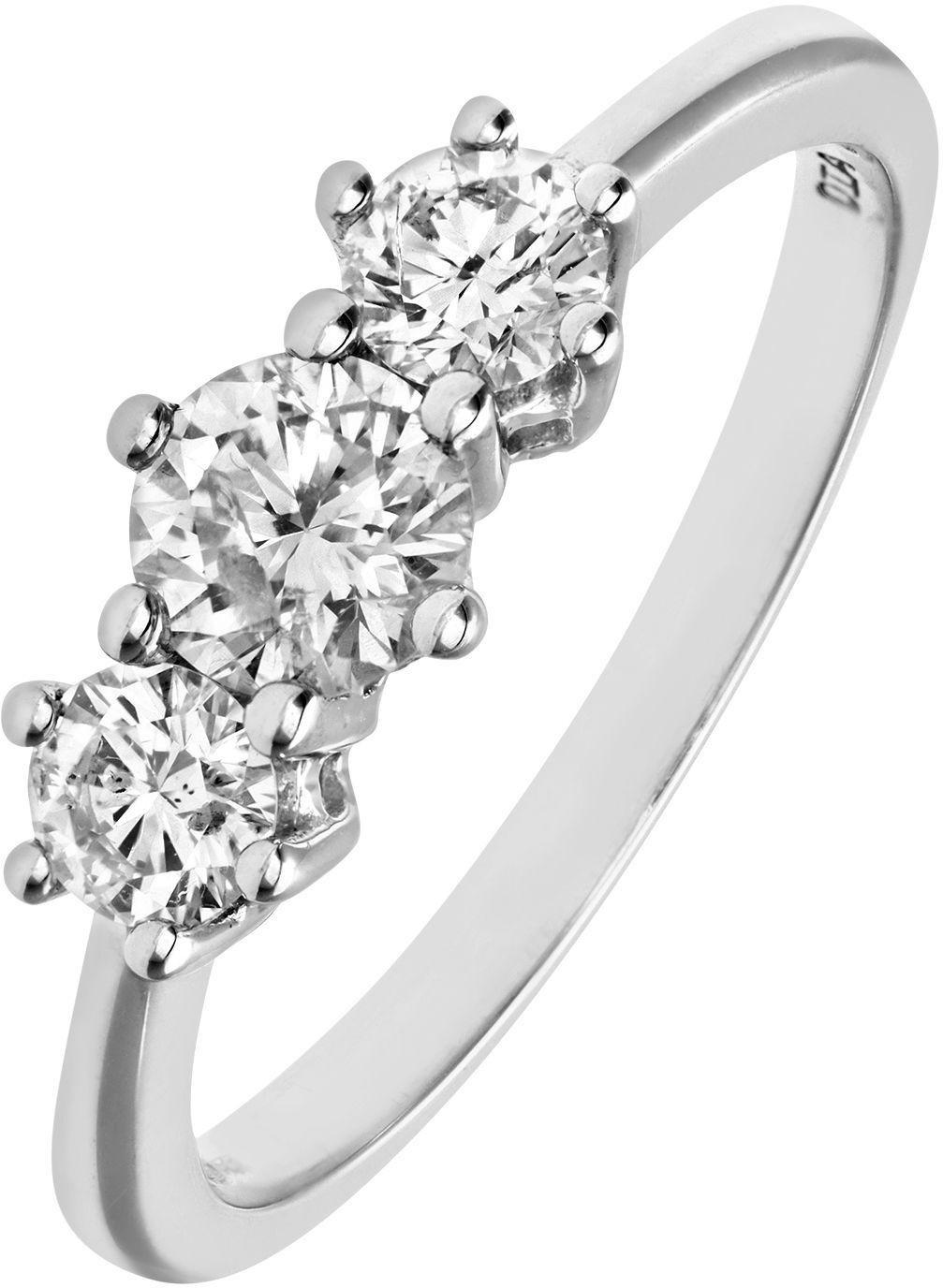 18 Carat White Gold 075 Carat Diamond - Ring - Size K