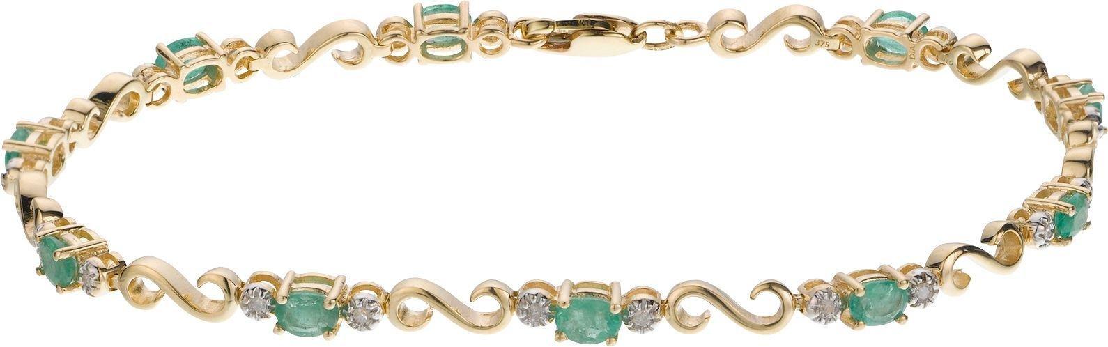 9 Carat Gold - Emerald and 0.10 Carat Diamond Bracelet.