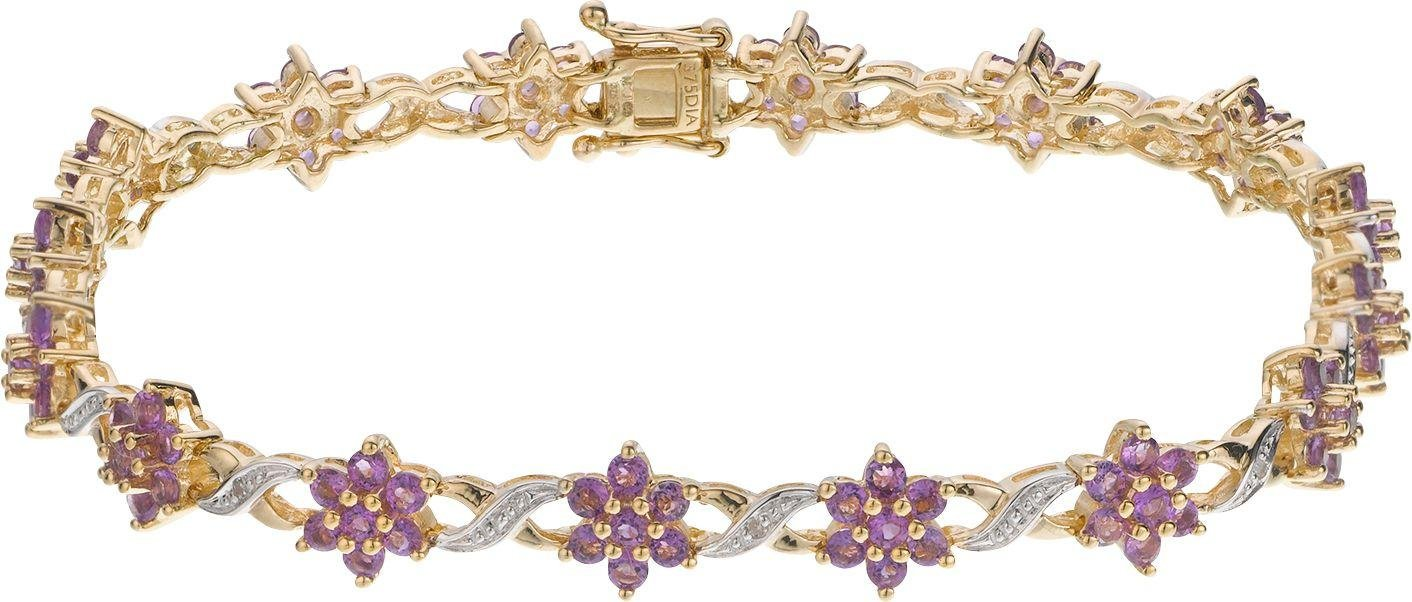 Image of 9 Carat Gold - Amethyst and Diamond Bracelet.