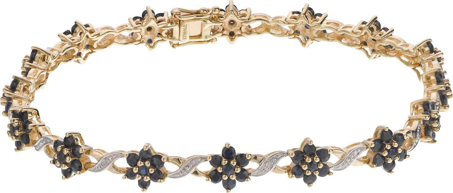 Image of 9 Carat Gold - Blue Sapphire and Diamond Bracelet.
