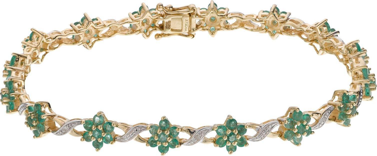 9 Carat Gold - Emerald and Diamond Bracelet.