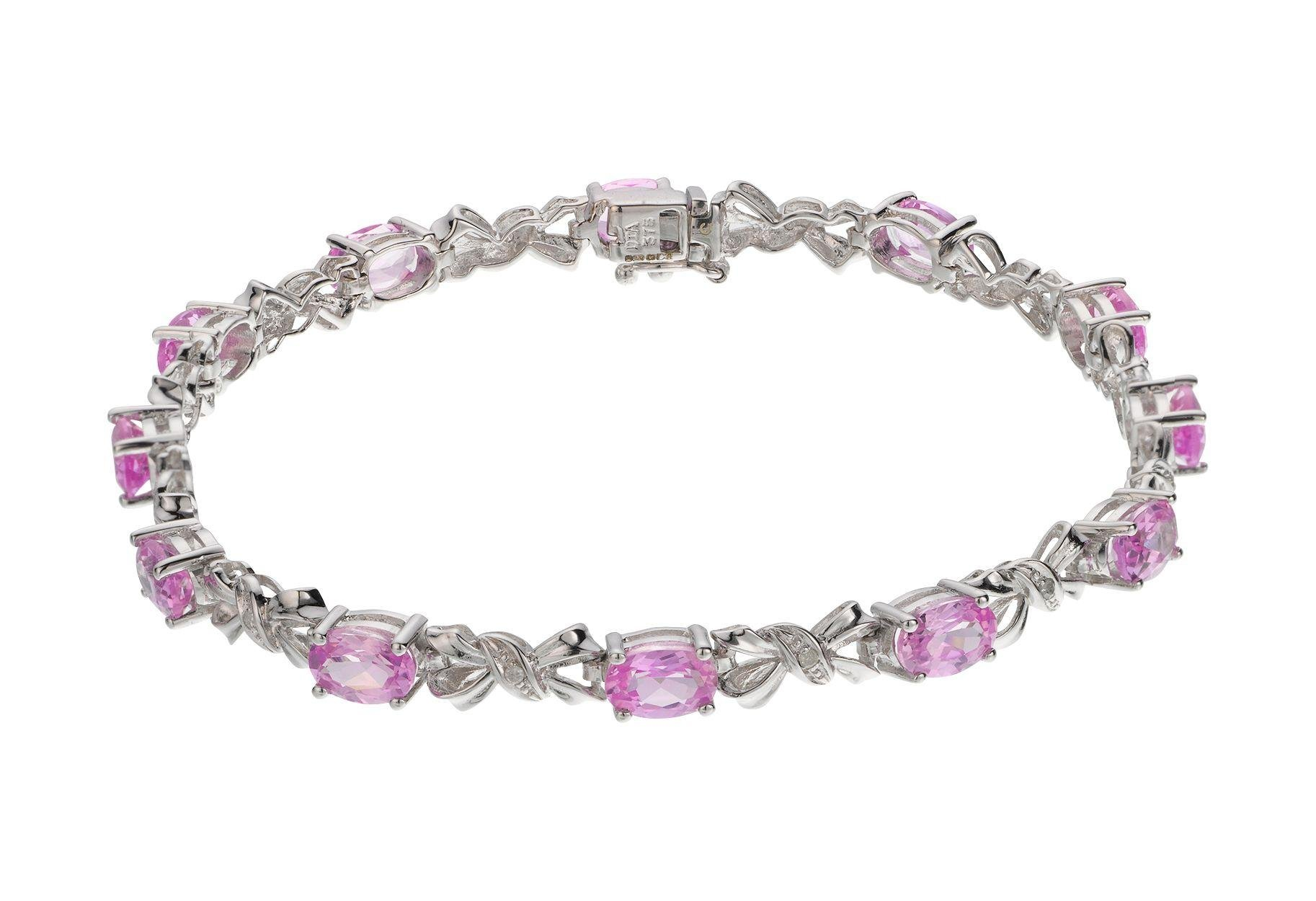 Image of 9ct White Gold Created Pink Sapphire and Diamond Bracelet.