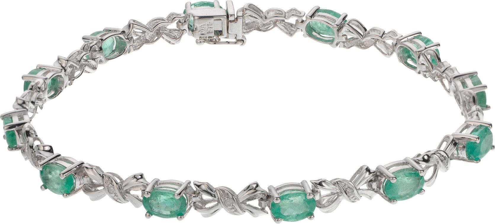 9 Carat White Gold - Emerald and Diamond Bracelet.