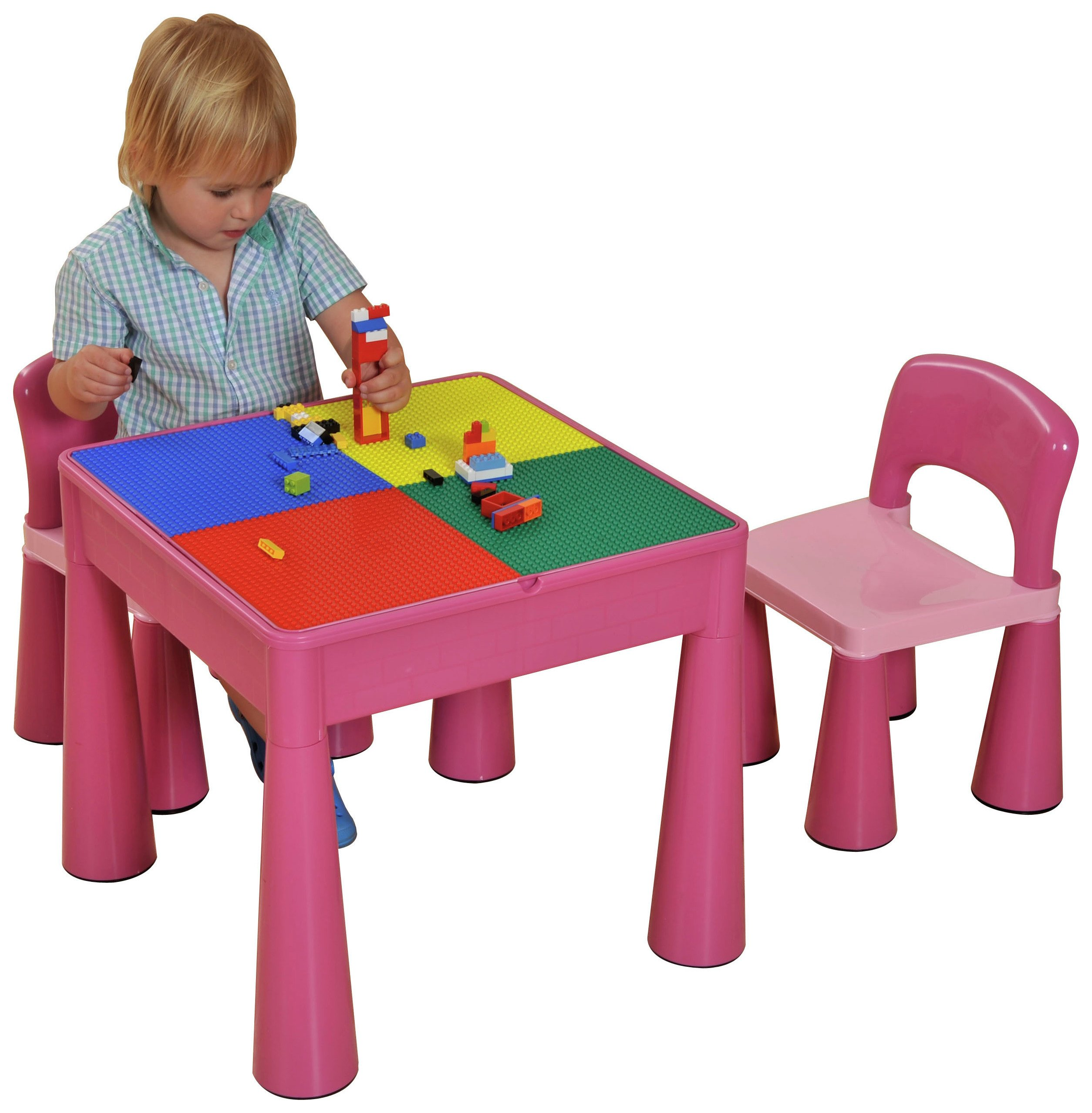 5 in 1 Table and Chairs Writing/Lego Top/Sand/Water/Storage.