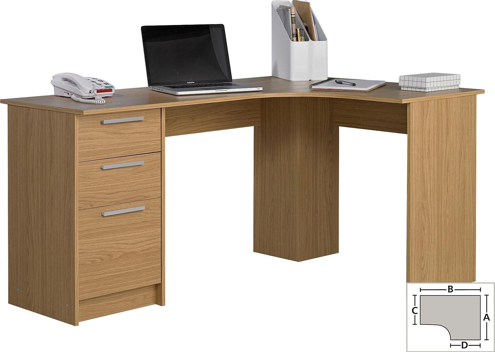 Buy HOME Large 3 Drawer Corner Desk Oak Effect at Argoscouk