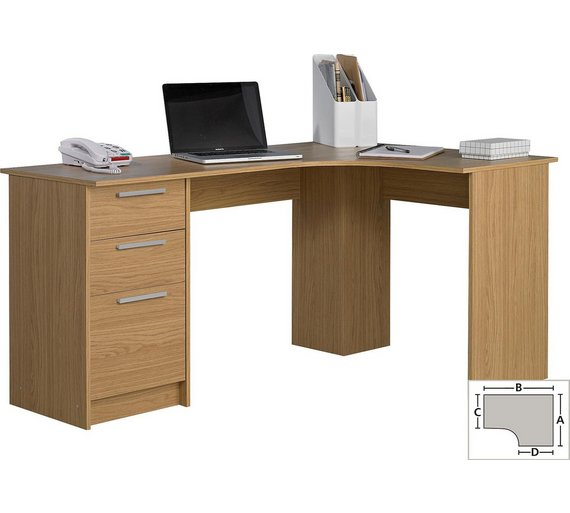 Buy Home Large Corner Desk Oak Effect At Argos Co Uk