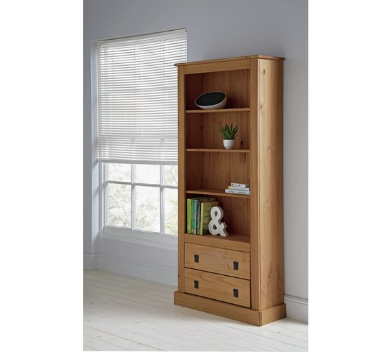 Buy Collection 2 Drawer Tall Wide Bookcase Solid Pine At