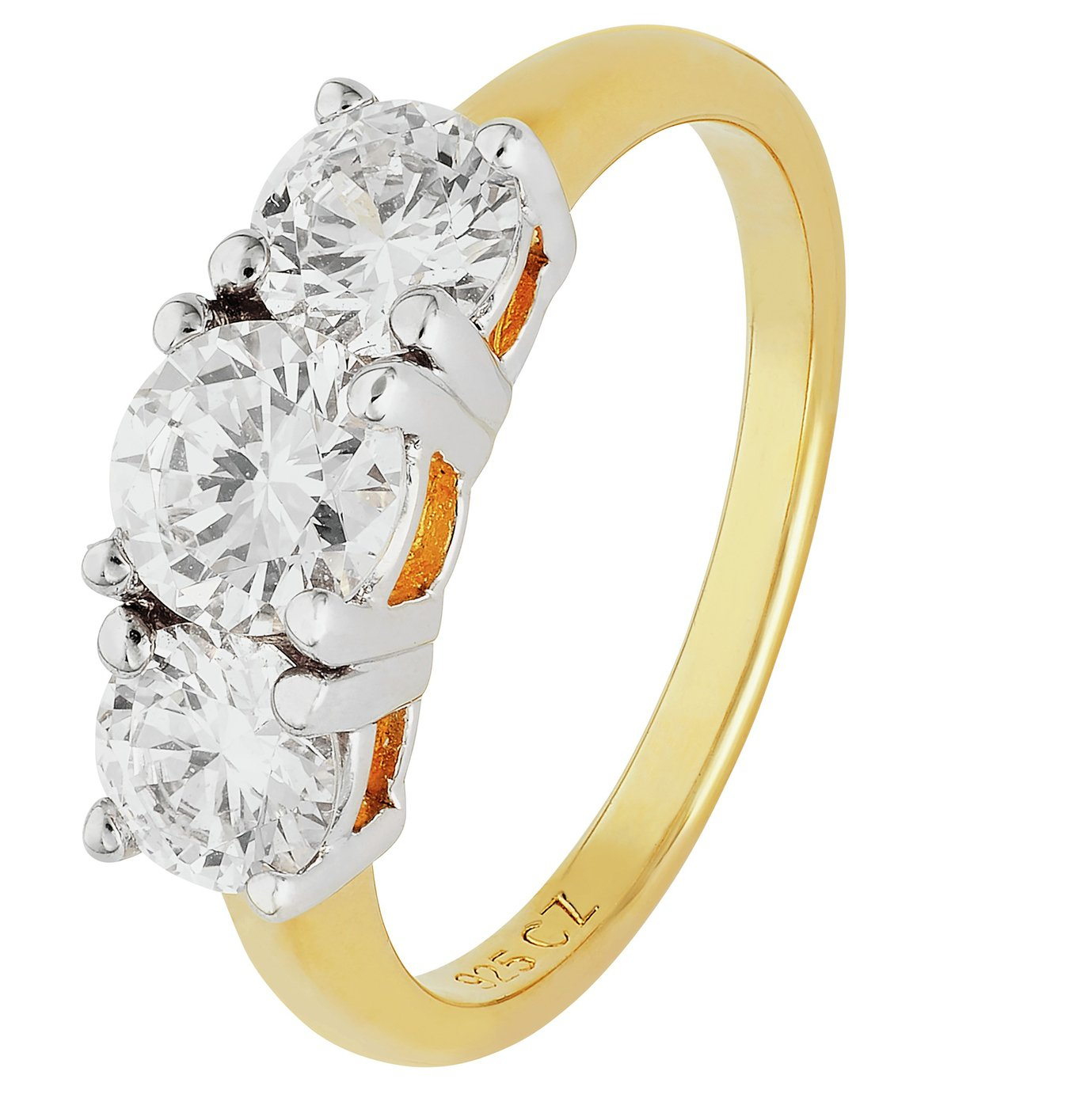18 Carat Gold - Plated Silver 15 Carat Look 3 Stone Ring