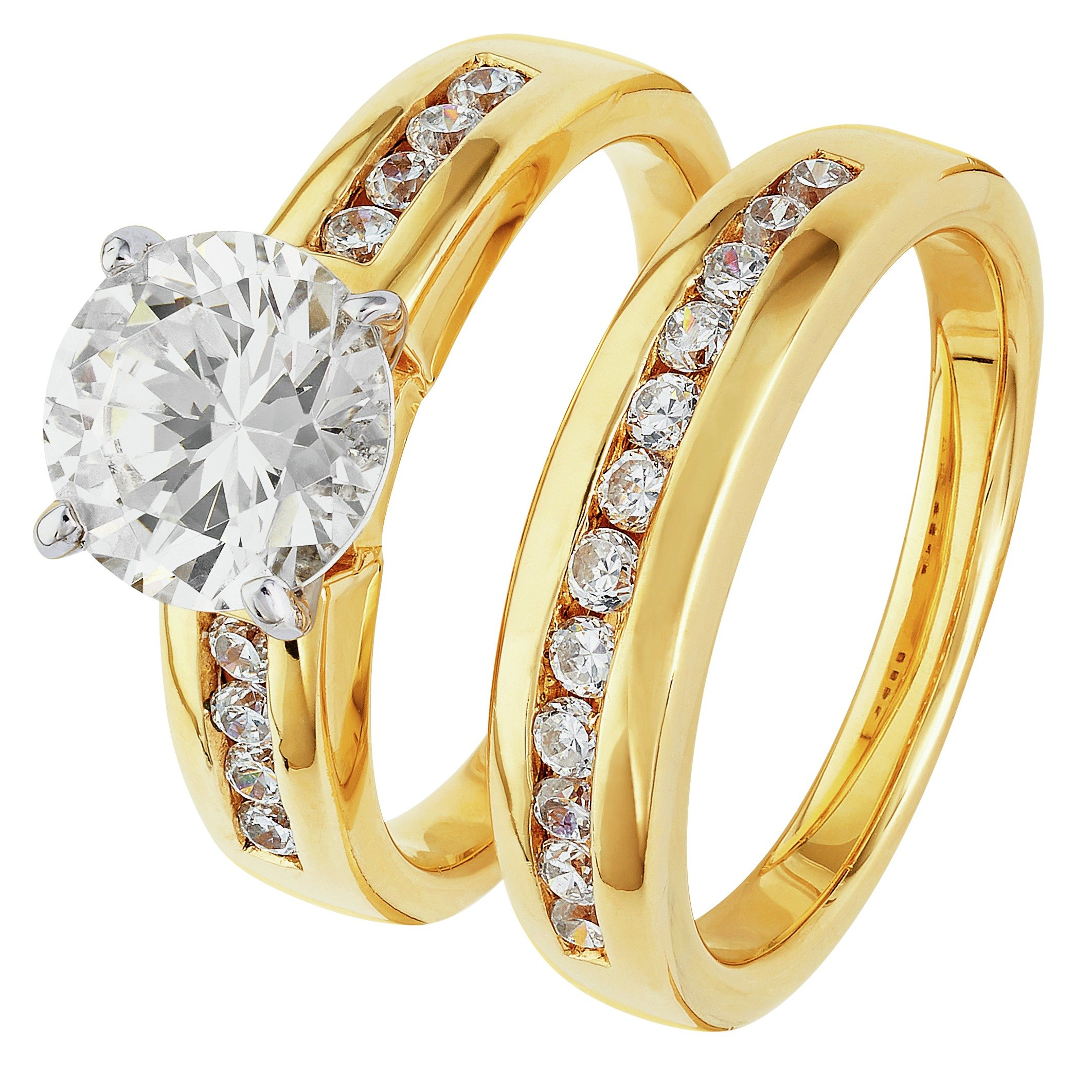 18 Carat Gold - Plated Silver 2 Carat Look Cubic Zirconia Halo - 2 Ring Set