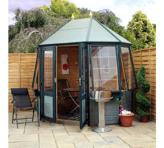 buy mercia octagonal wooden summer house 8 x 6ft at argos. Black Bedroom Furniture Sets. Home Design Ideas