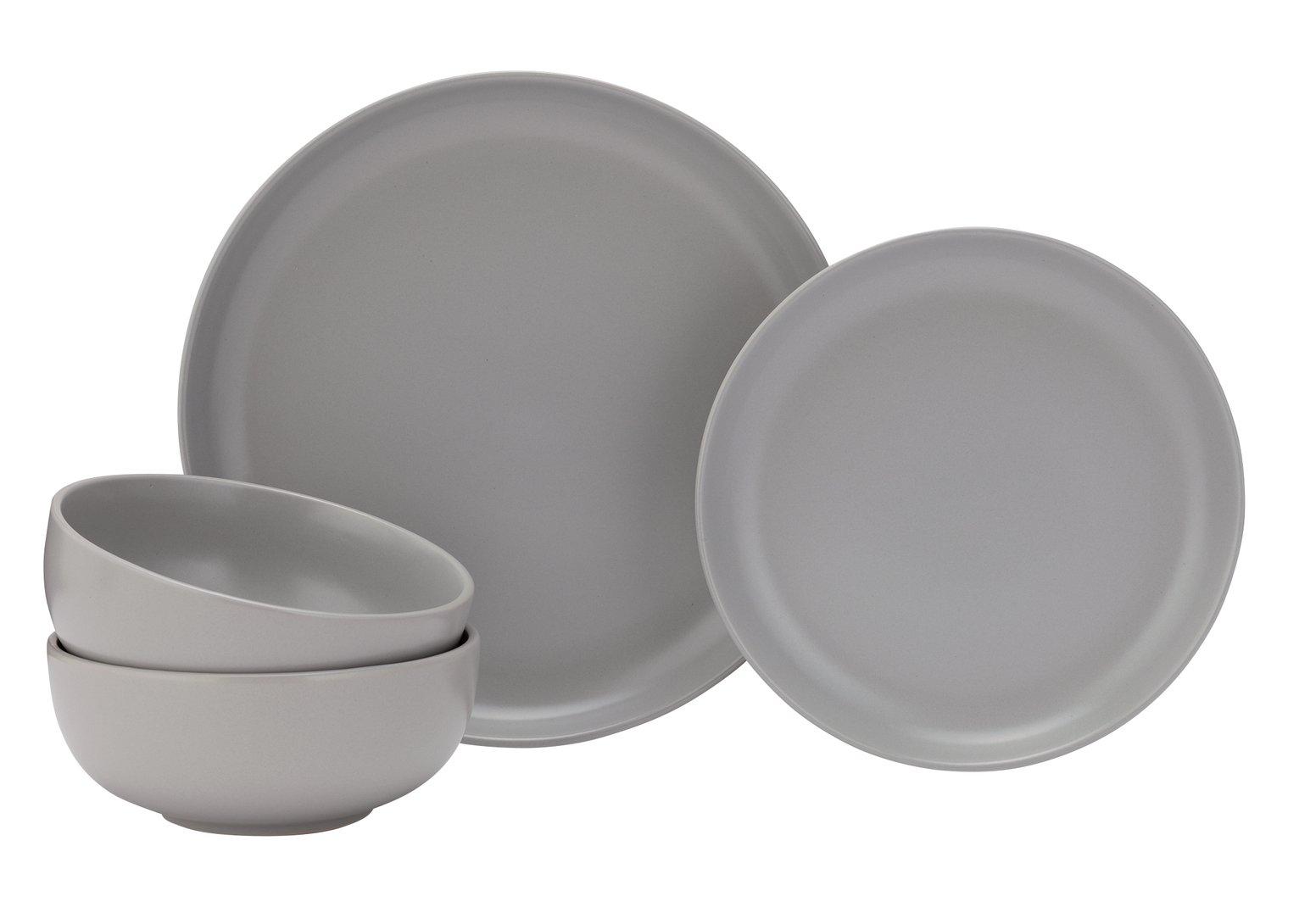 Grey Argos Home Palatial 12 Piece Dishwasher Safe Dinner Set