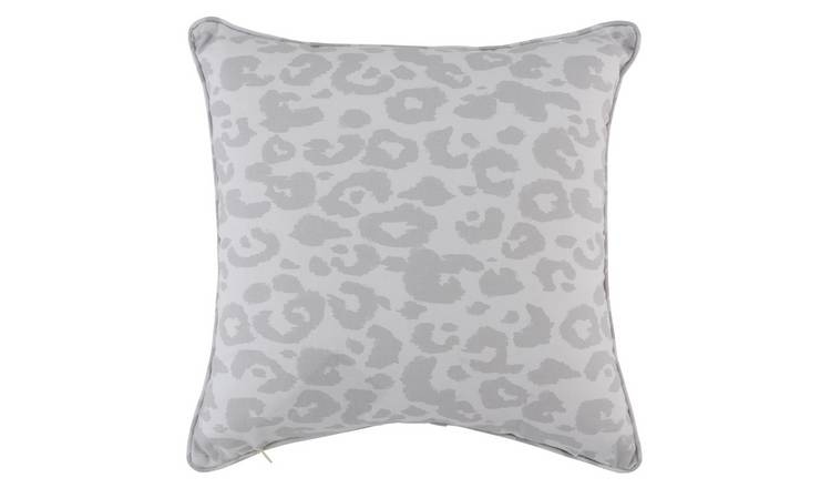 Argos Home Leopard Print Cushion - Grey
