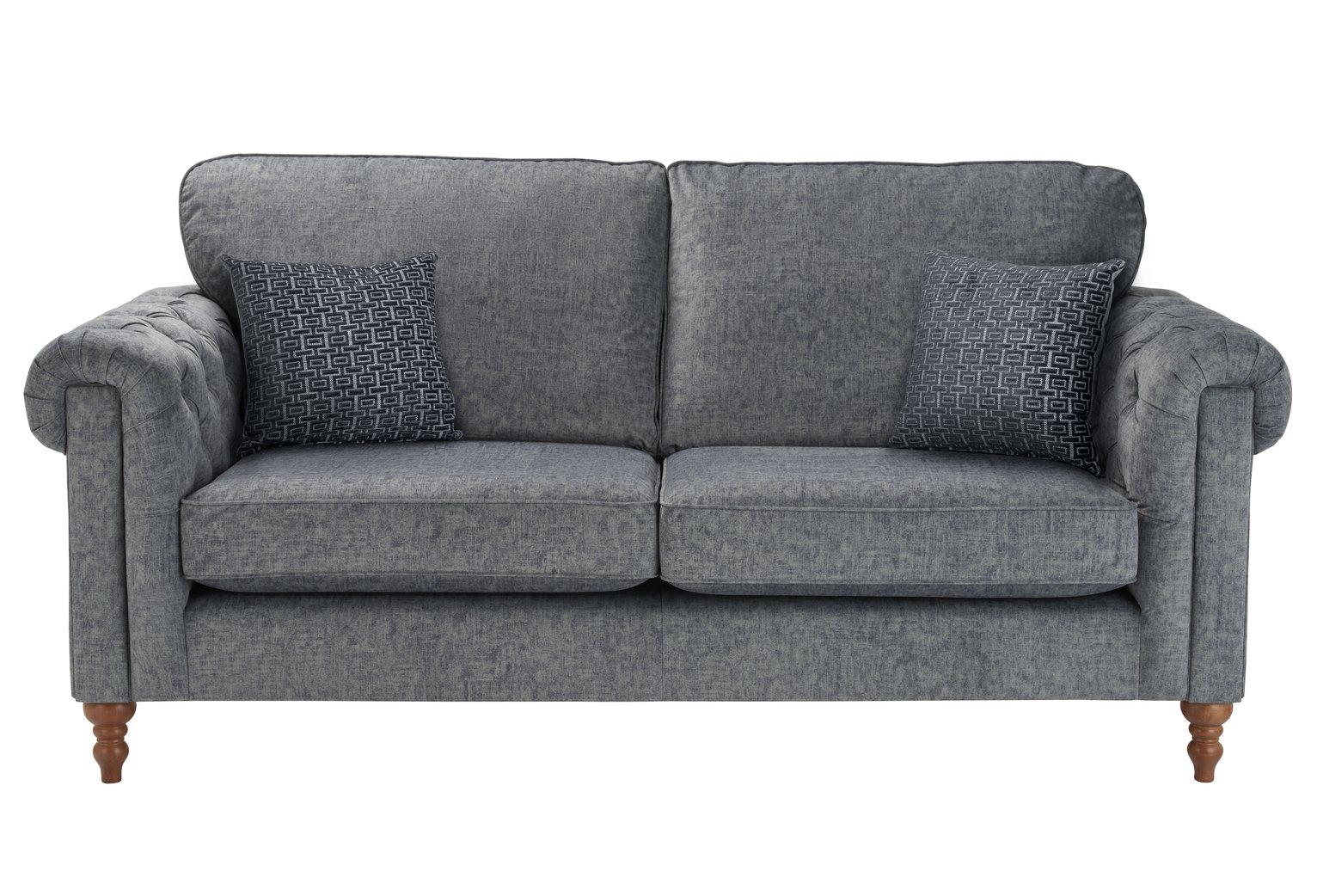 Argos Home Rebecca 3 Seater Fabric Sofa - Charcoal
