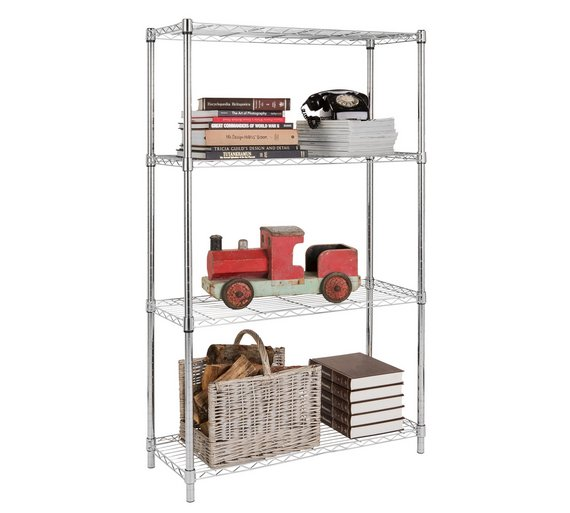 Buy Home Heavy Duty 4 Tier Metal Shelving Unit Chrome Plated At Your Online Shop
