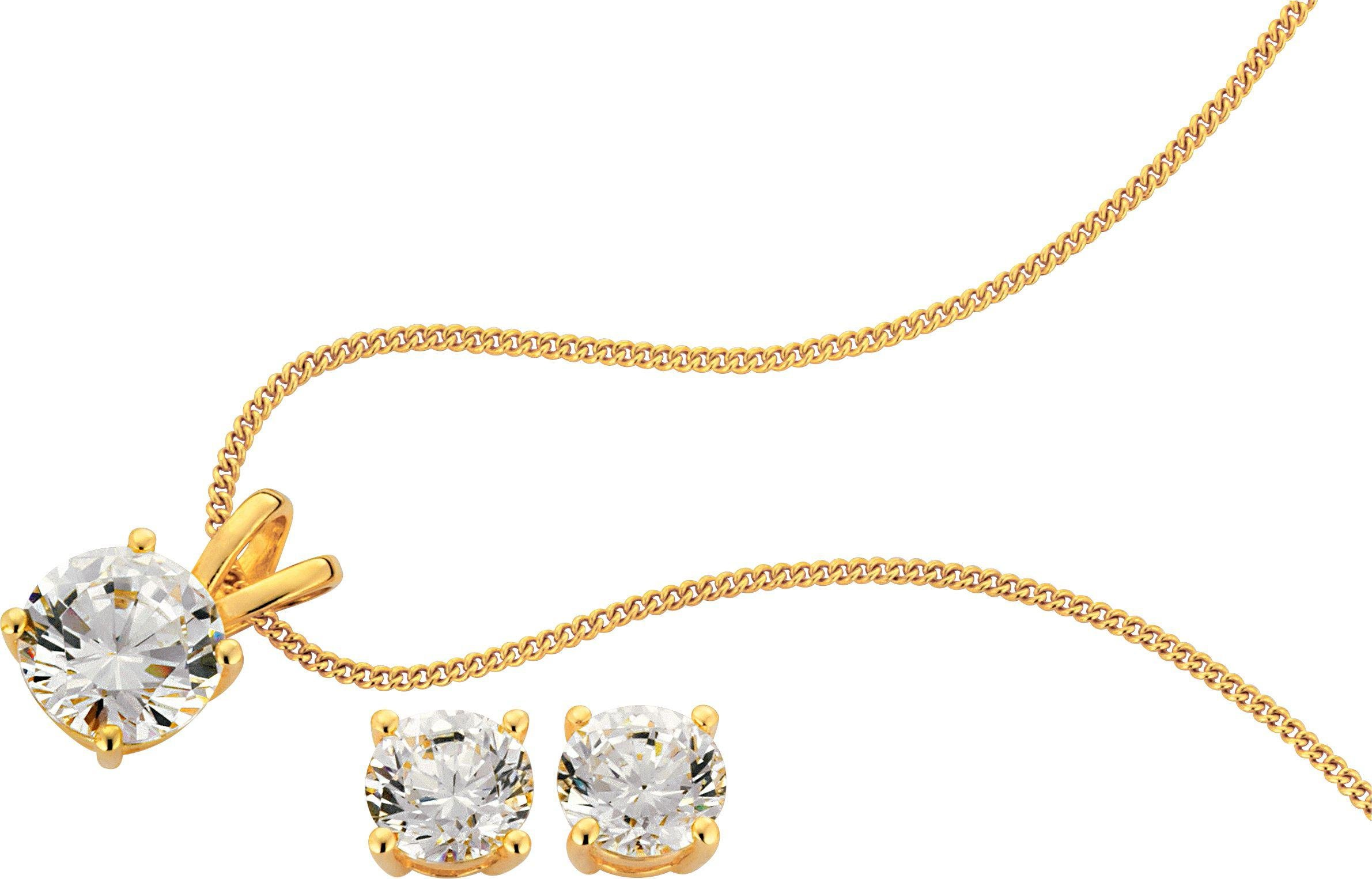 18 Carat Gold - Plated - 2.00 Carat Look CZ Pendant and Earrings Set.