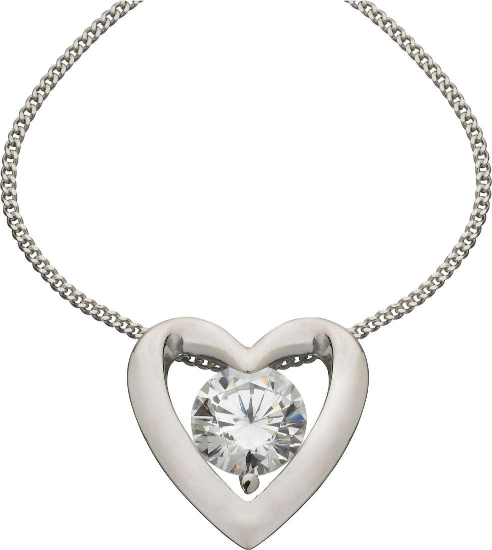 Revere Platinum Plated Silver Cubic Zirconia Heart Pendant