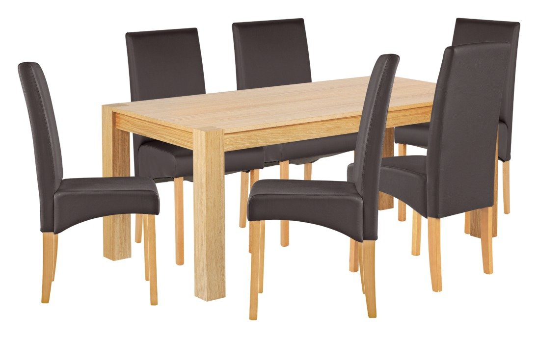 Heart of House Alston Oak Veneer Table & 6 Chairs - Choc
