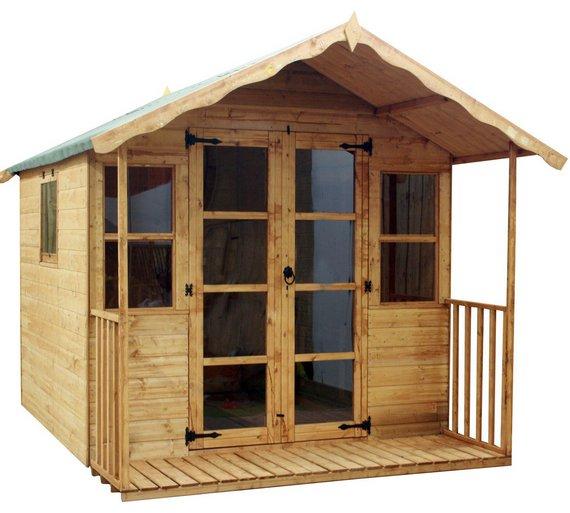 mercia premium wooden summer house with veranda 8 x 8ft