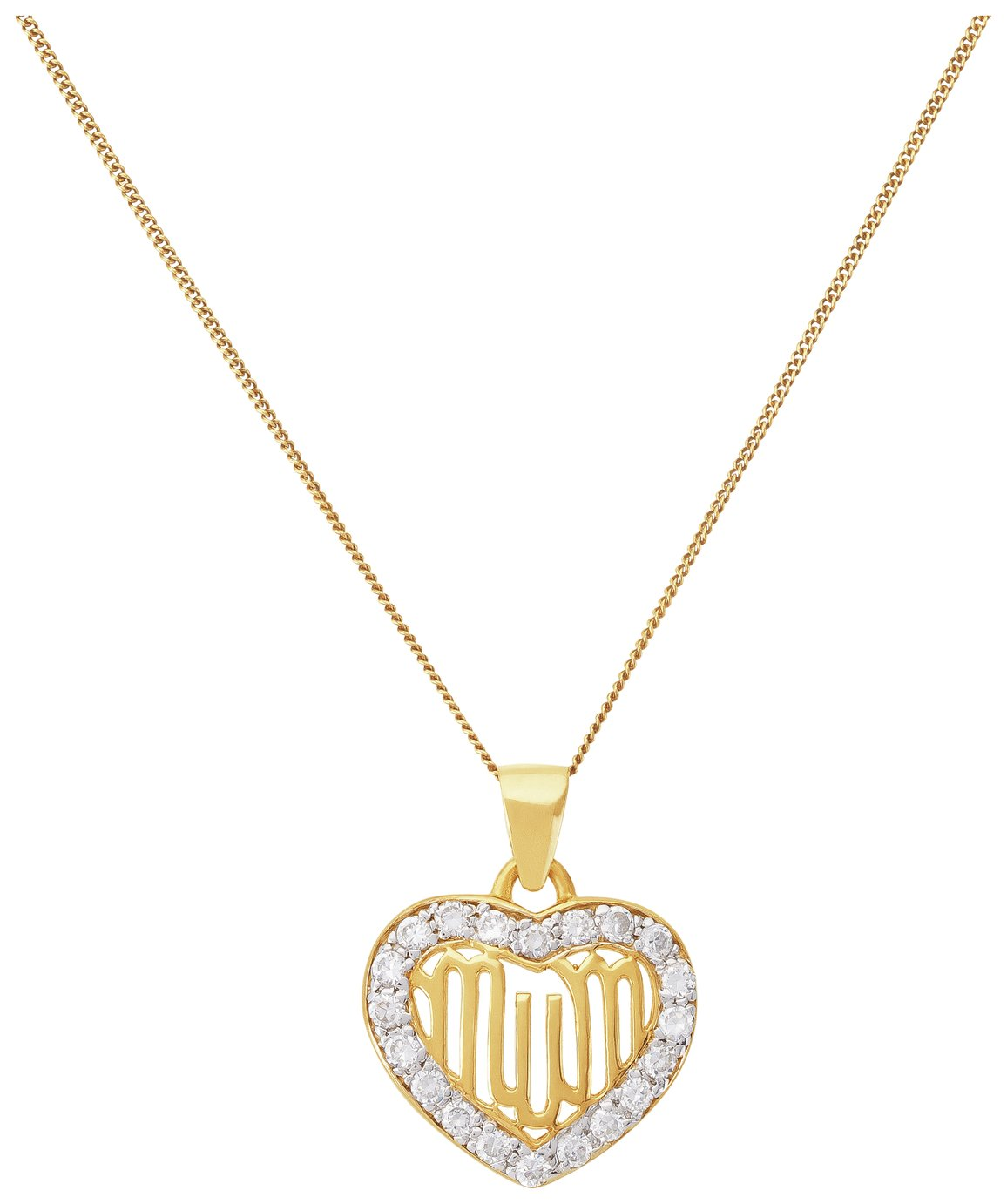 Image of 9 Carat Gold - Plated - Silver Cubic Zirconia 'Mum' Heart Pendant.