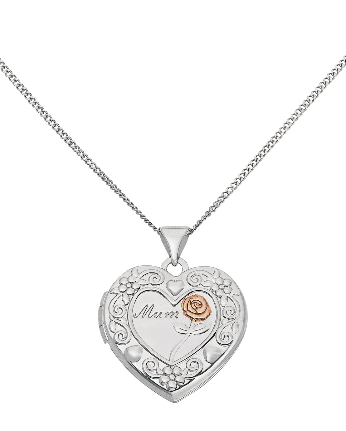 Moon & Back Sterling Silver 'Mum' Heart 2 Photo Locket