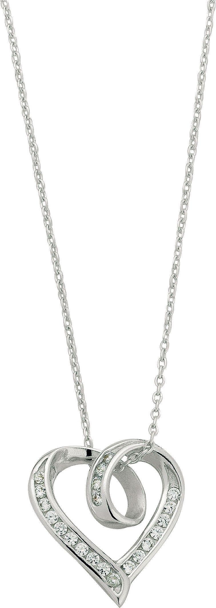 Revere Silver Twist Heart Pendant 18 Inch Necklace