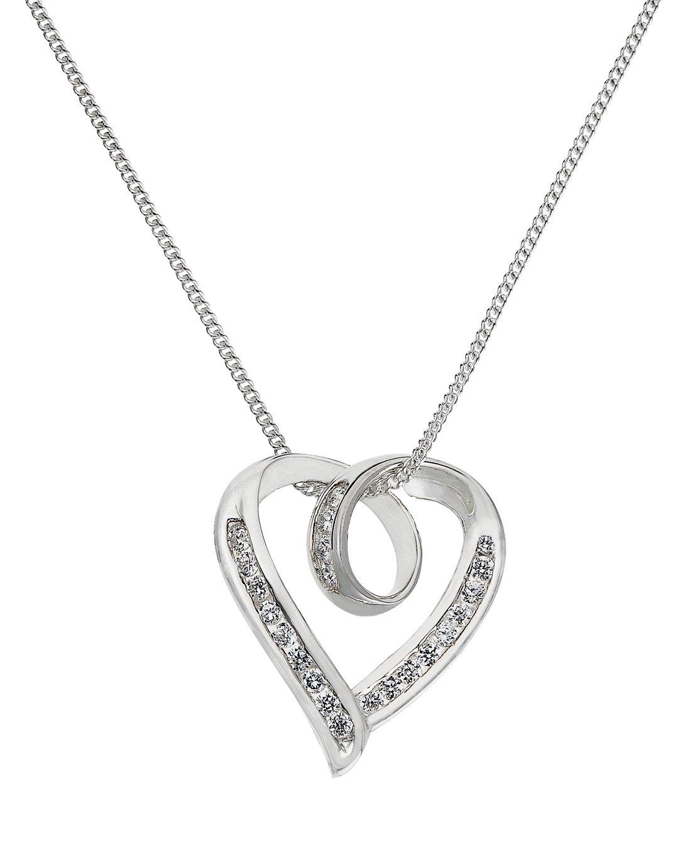 Revere Sterling Silver Cubic Zirconia Twist Heart Pendant