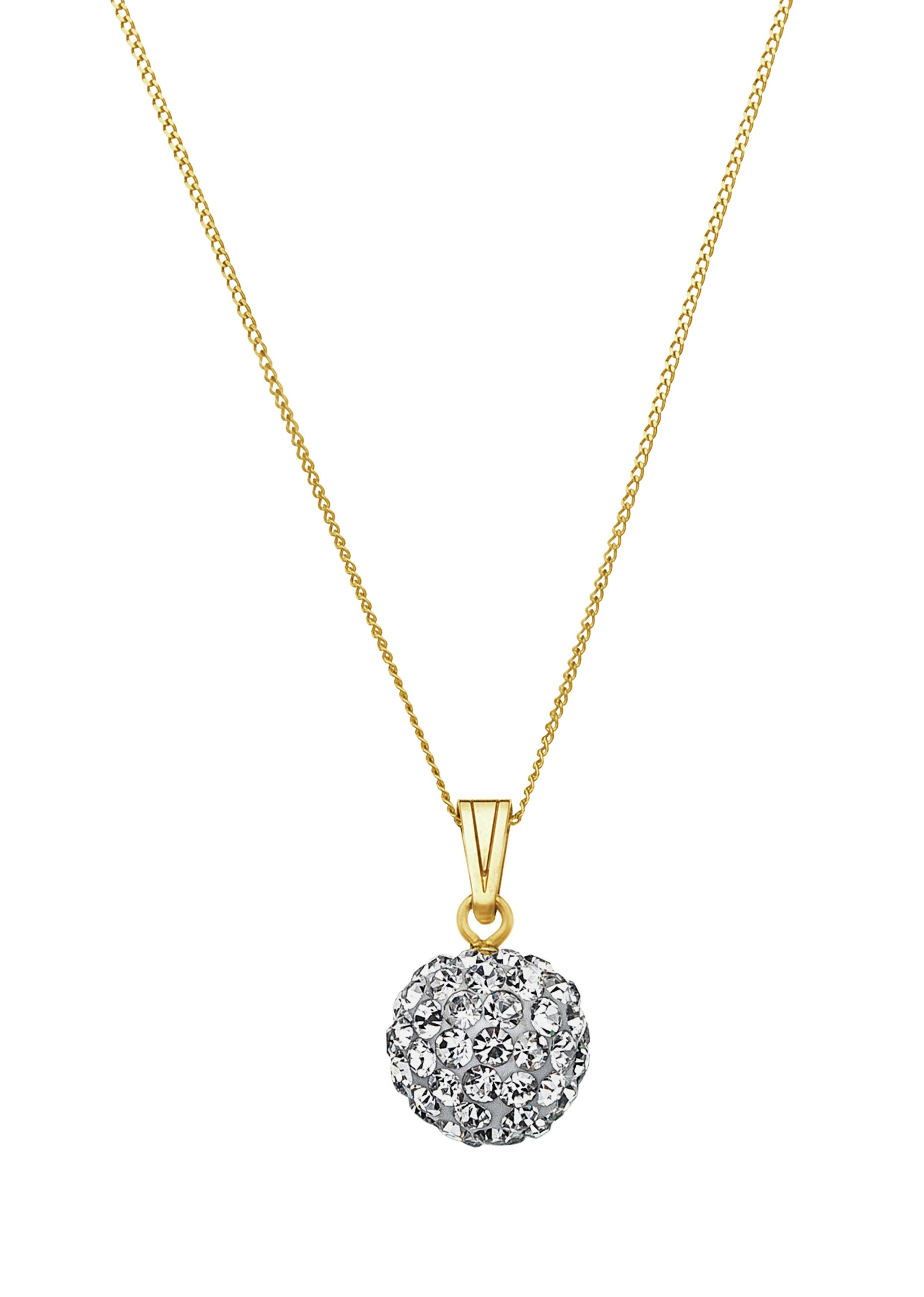 Revere 9ct Yellow Gold Crystal Glitter Ball Pendant