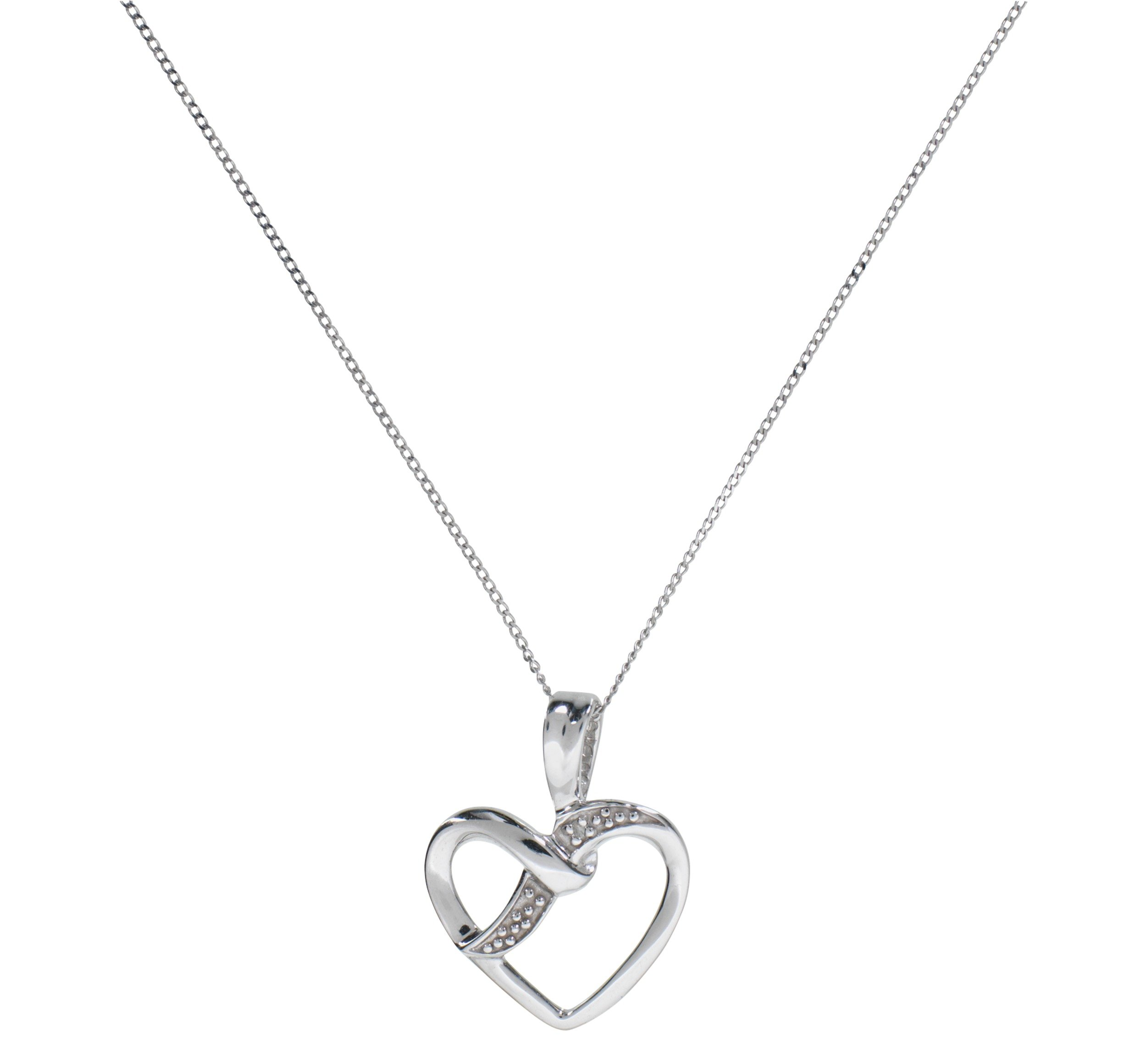 Revere 9ct White Gold Diamond Accent Heart Pendant