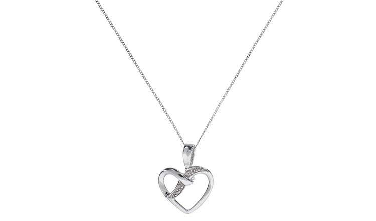 Revere 9ct White Gold Diamond Heart Pendant Necklace