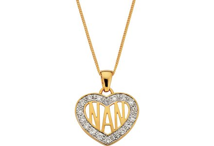 Cut out image of a 9ct Gold Plated Silver Cubic Zirconia 'Nan' Heart Pendant.