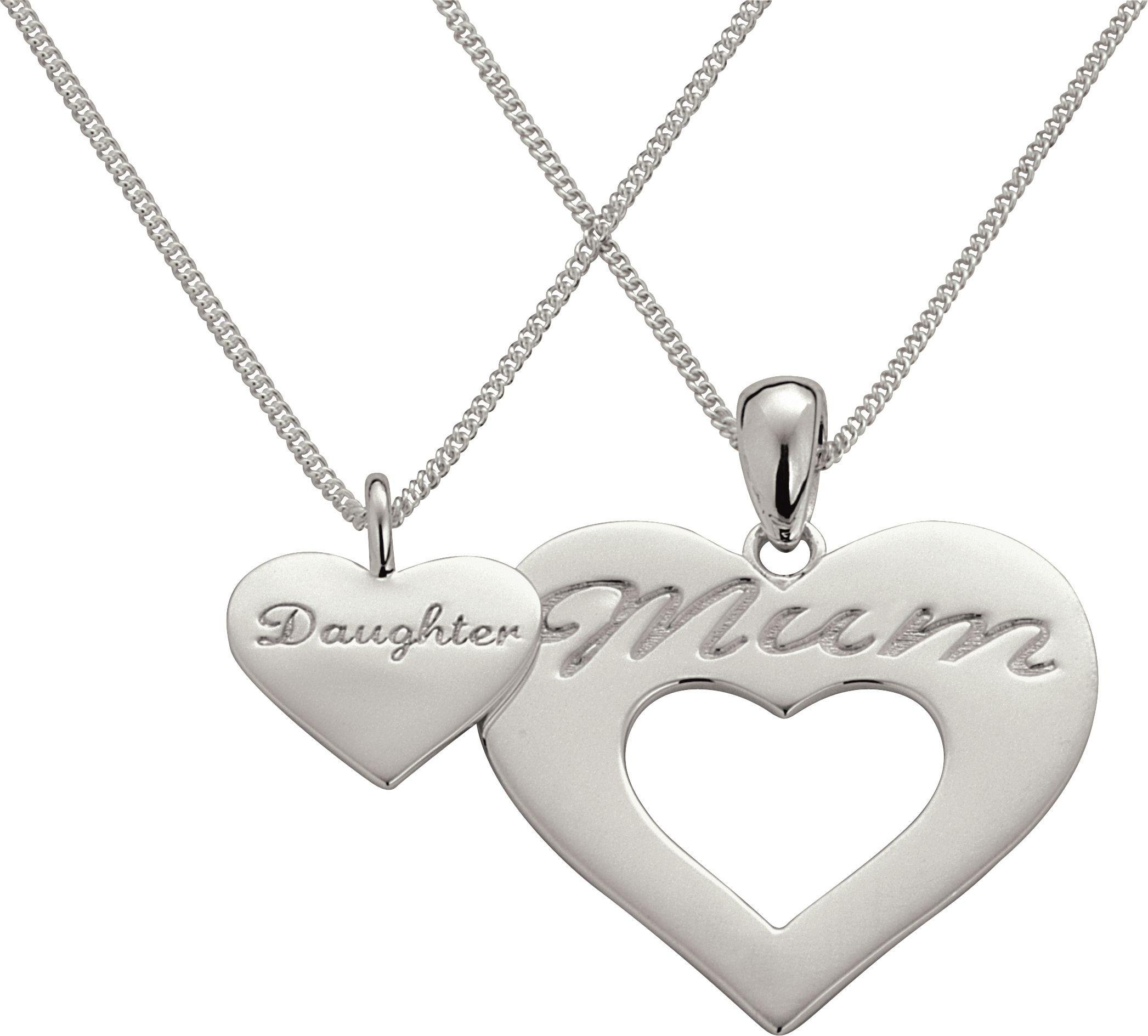 Image of Sterling Silver - Mum and Daughter Pendant Set.