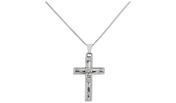 Revere Silver Large Crucifix Pendant 20 Inch Necklace