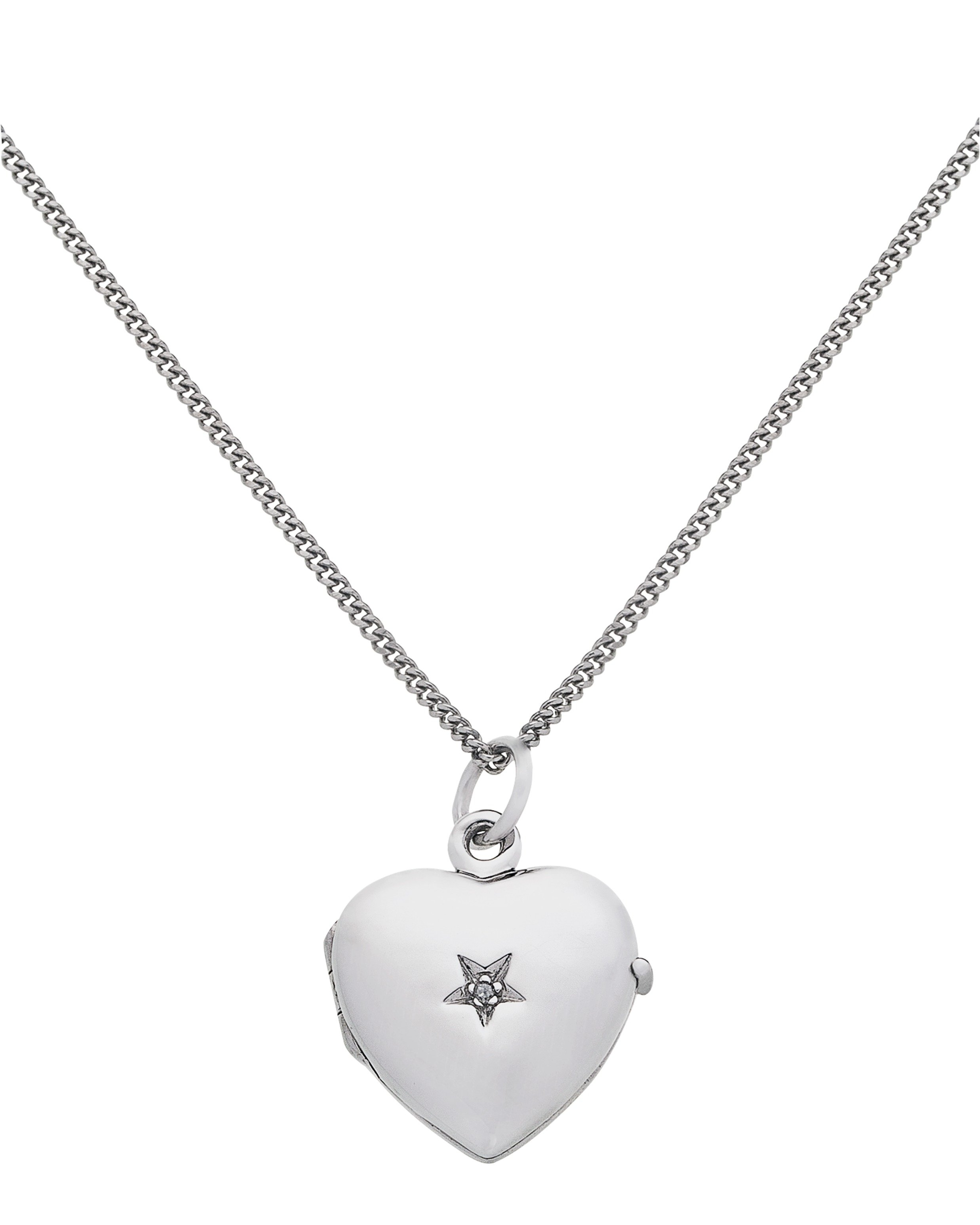 Moon & Back Silver Diamond Accent Heart 2 Photo Locket