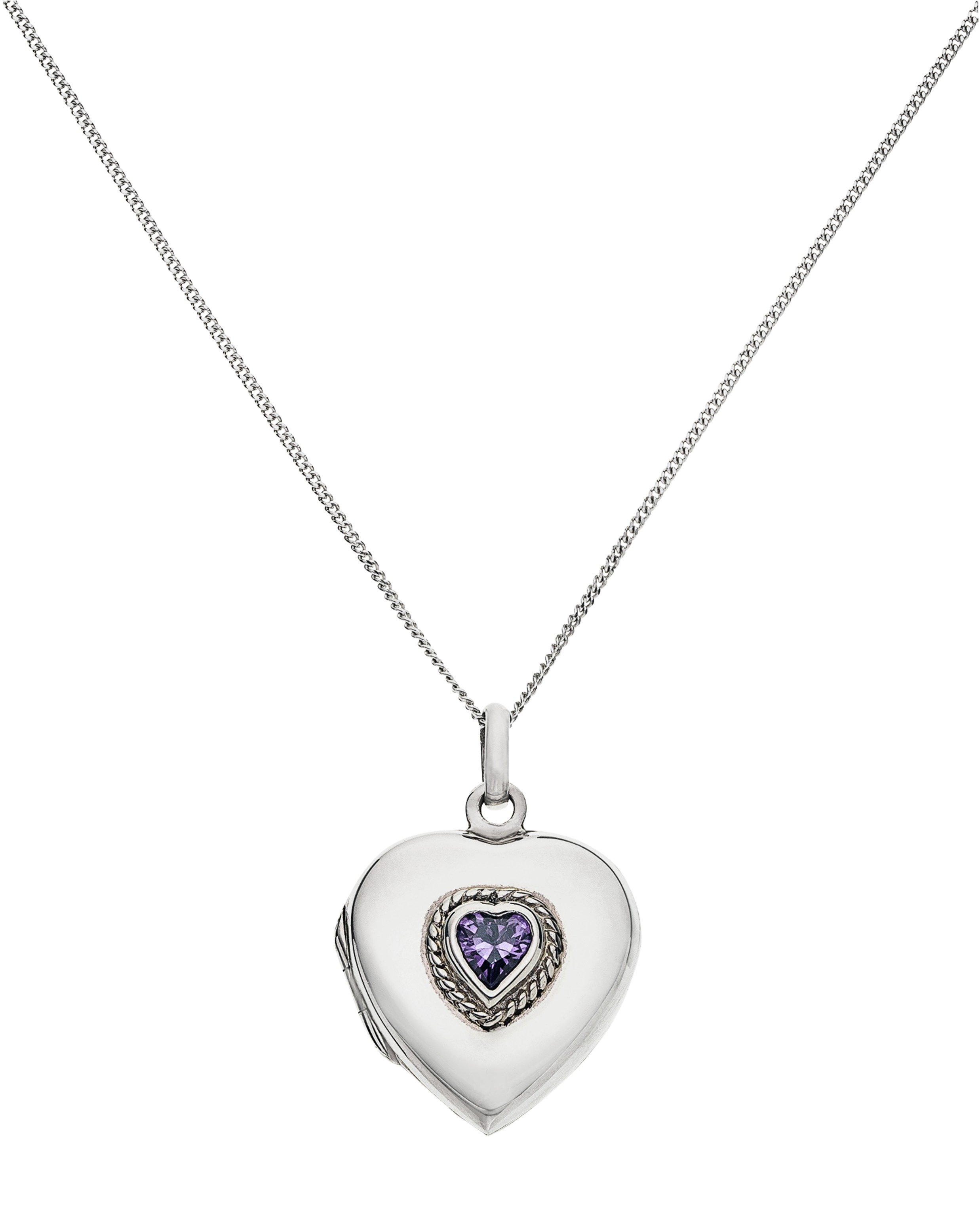 Moon & Back Silver Amethyst Colour CZ Heart 2 Photo Locket