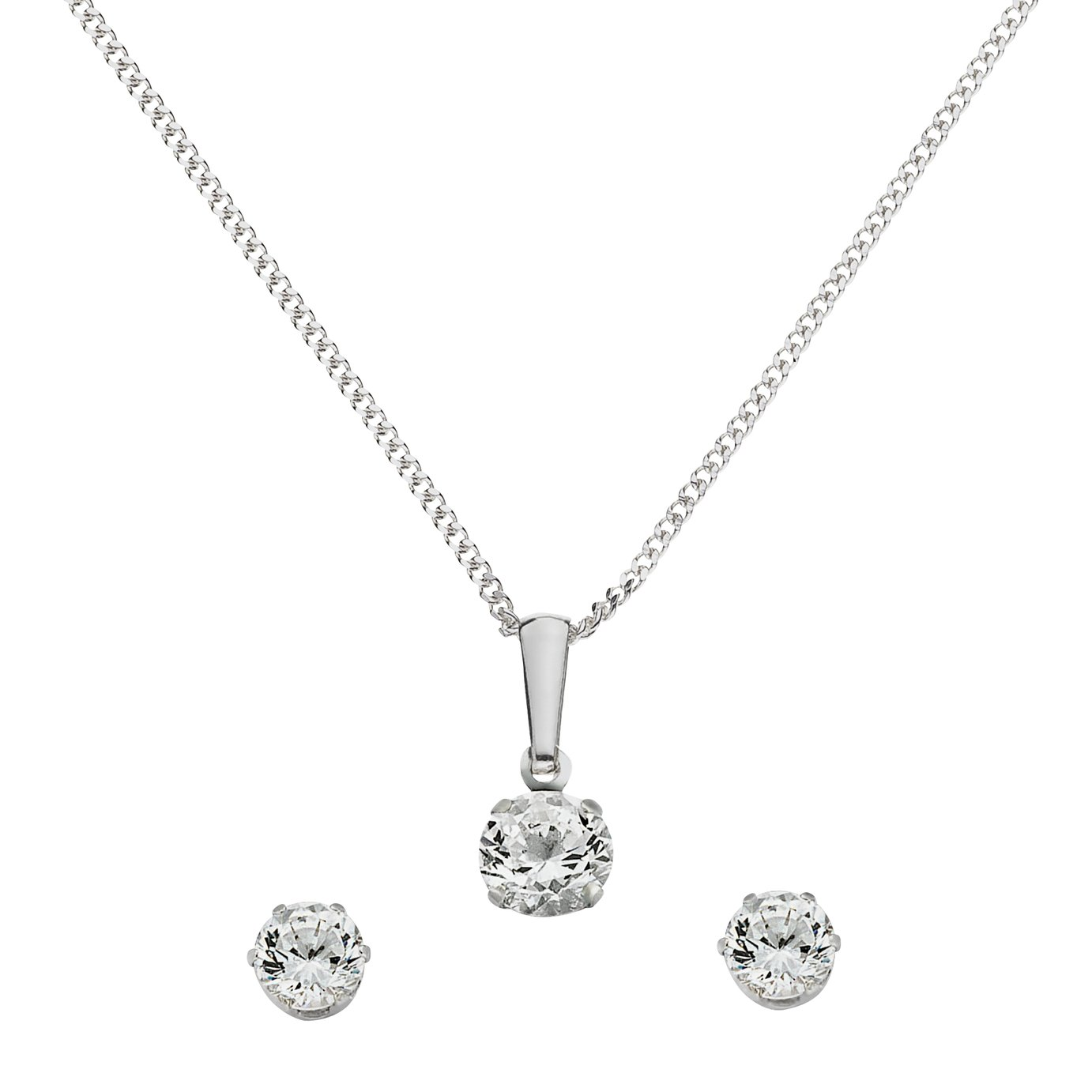 Sterling Silver - Cubic Zirconia Pendant and Earrings Set.