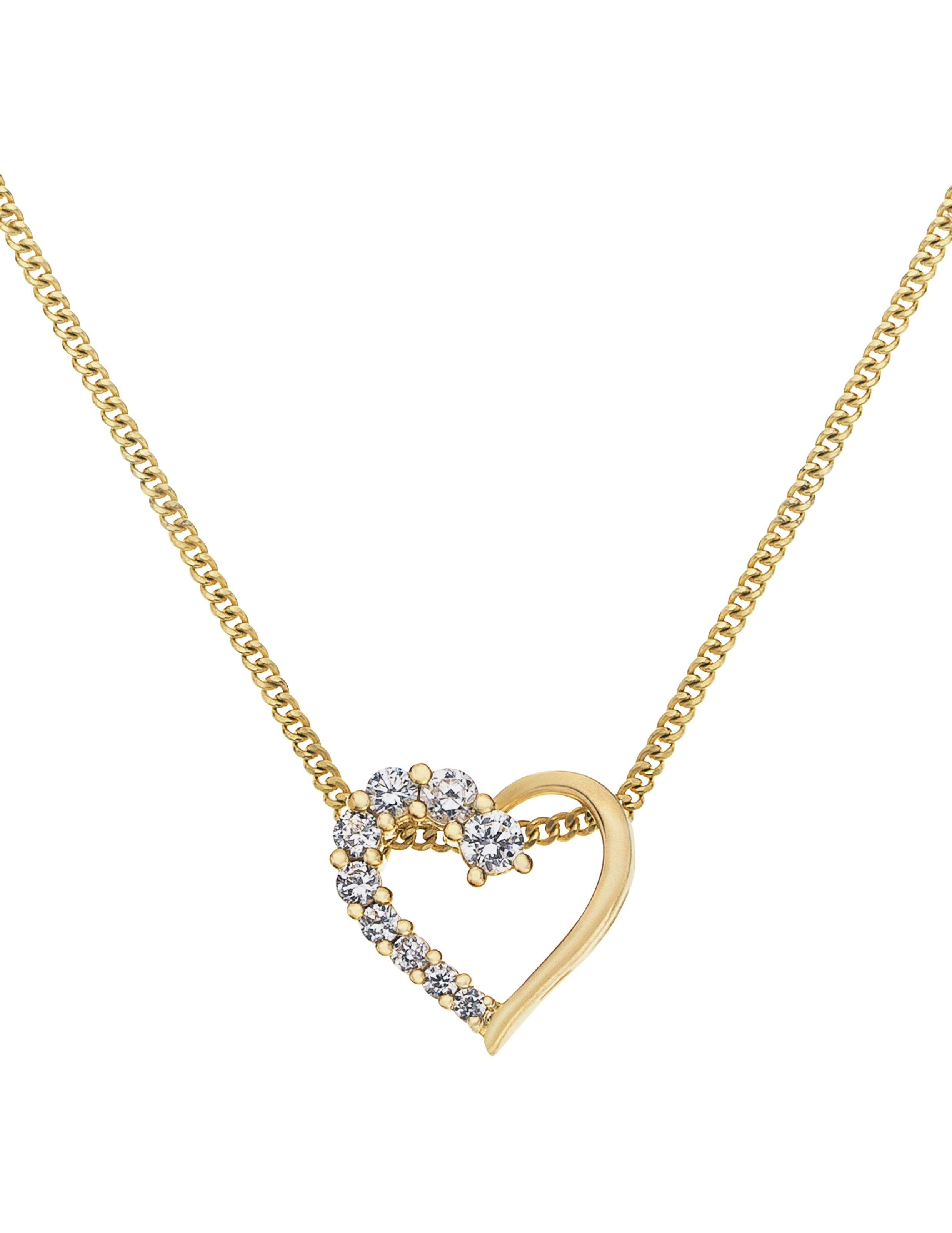 Revere 18ct Gold Plated Sterling Silver CZ Heart Pendant