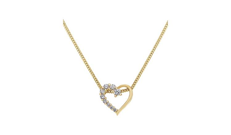 Revere 18ct Gold Plated Heart Pendant 18 Inch Necklace
