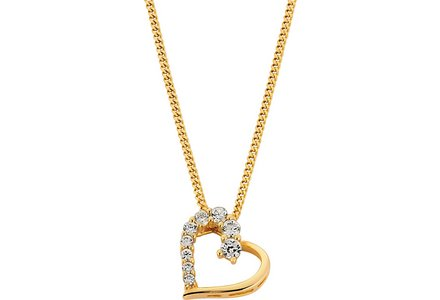 Revere 18ct Gold Plated Sterling Silver CZ Heart Pendant.