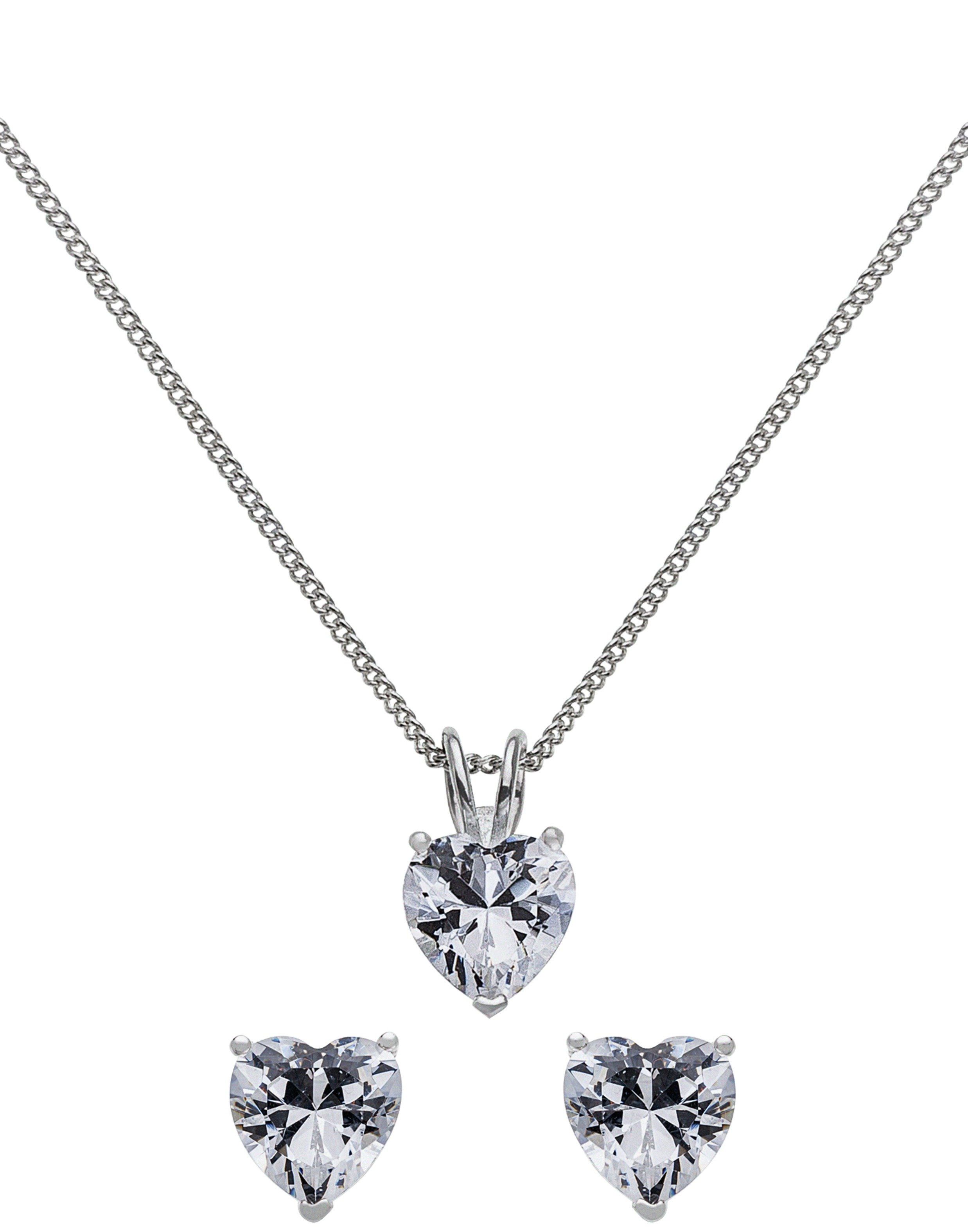Revere Sterling Silver CZ Heart Pendant and Earring Set