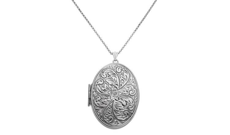Moon & Back Silver Oval 2 Photo Locket Pendant Necklace