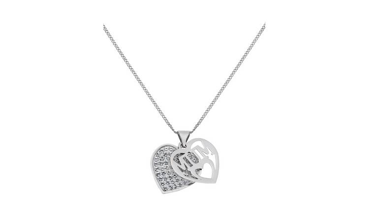 Moon & Back Sterling Silver Crystal 'Mum' Heart Pendant
