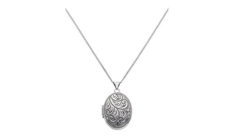 Moon & Back Silver Oval 4 Photo Locket  Pendant Necklace