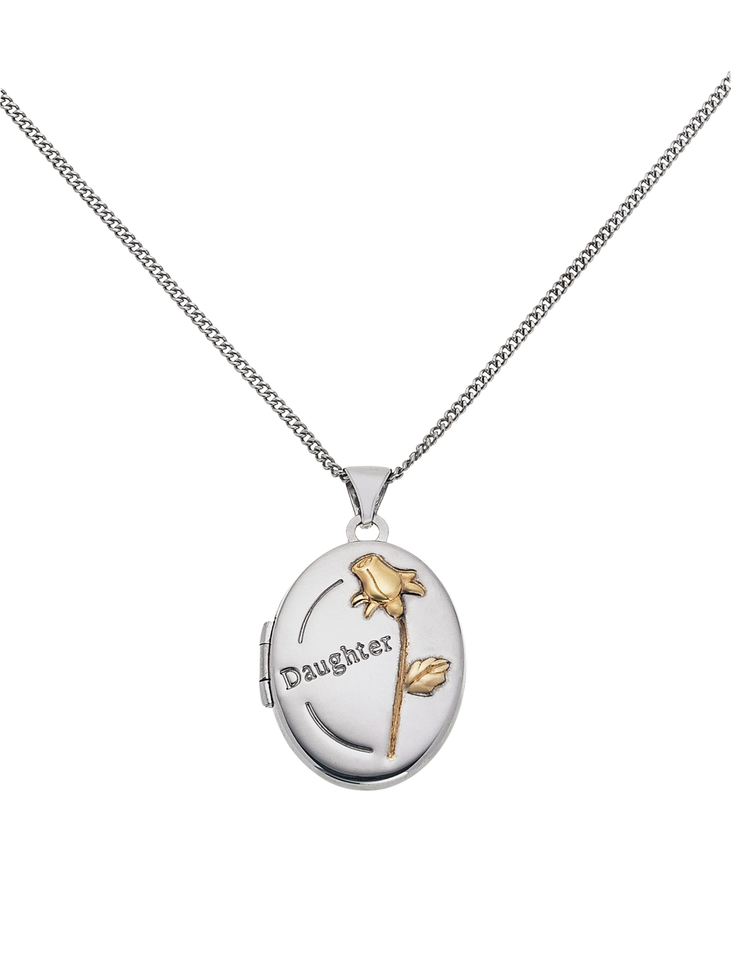 Moon & Back Silver & 9ct Gold Plated Silver Daughter Locket