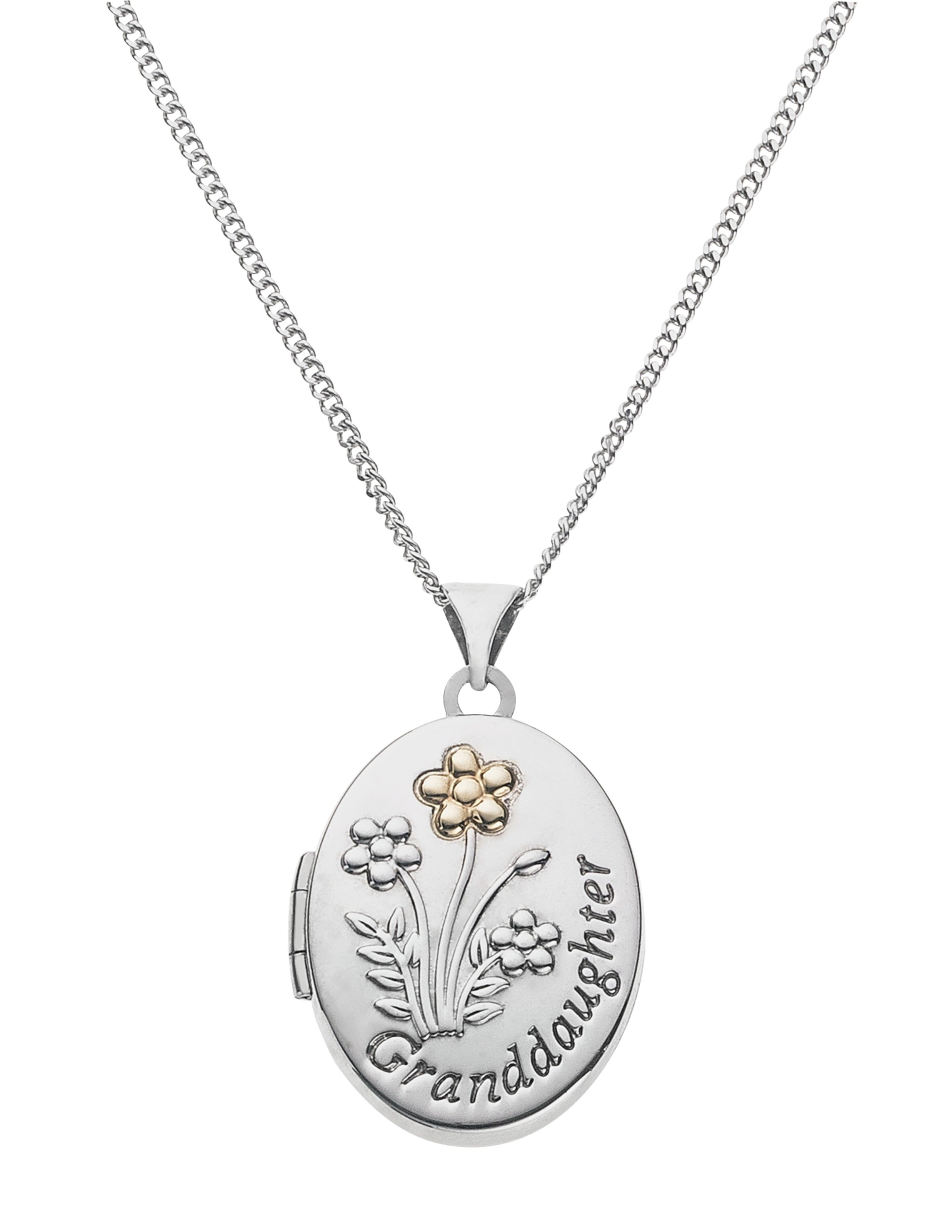 9 Carat Gold - and Silver 'Granddaughter' Locket Pendant.