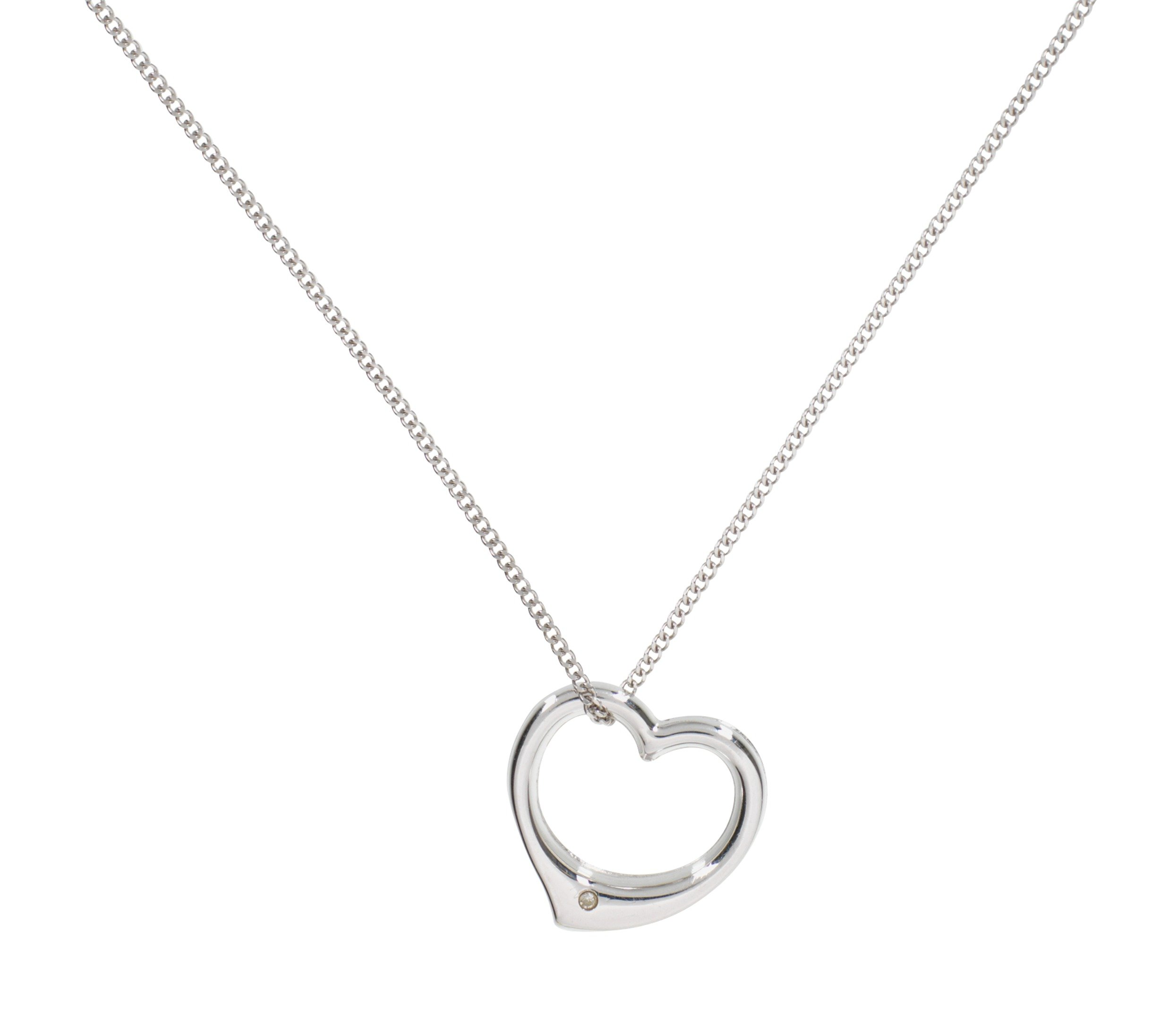 Revere Sterling Silver Diamond Accent Floating Heart Pendant