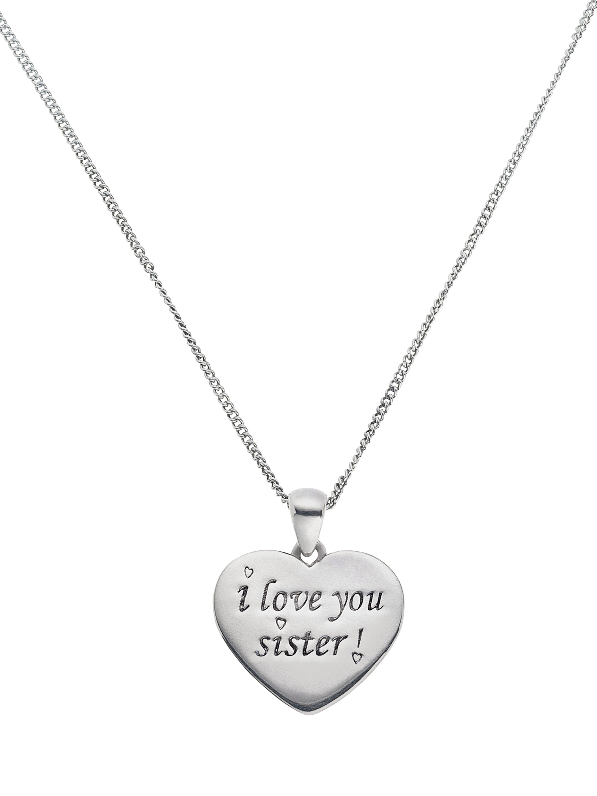 Moon & Back Sterling Silver 'I Love You Sister' Pendant