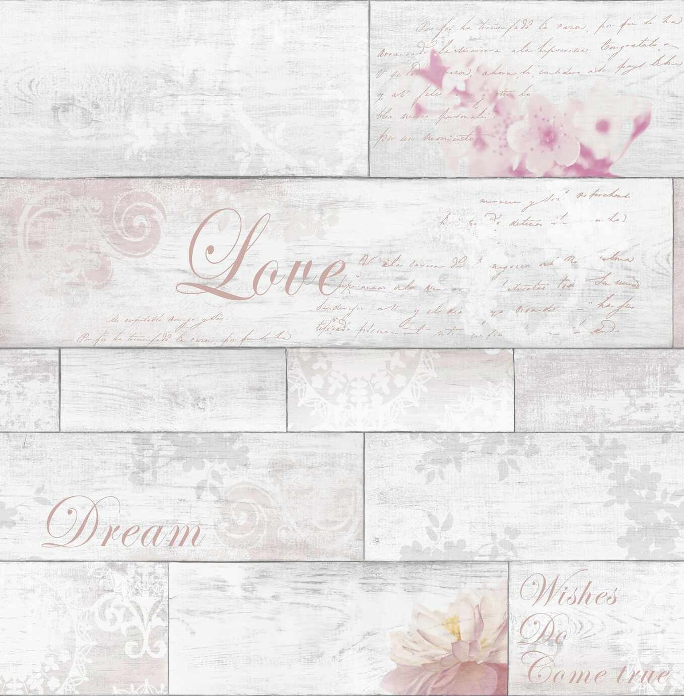 Fresco Decorative Plank Blush Wallpaper