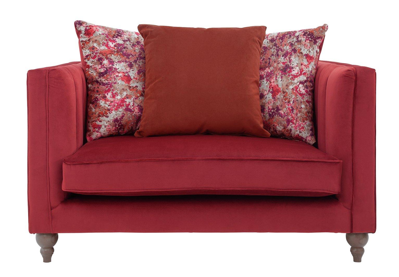Argos Home Bardot Velvet Cuddle Chair - Cranberry